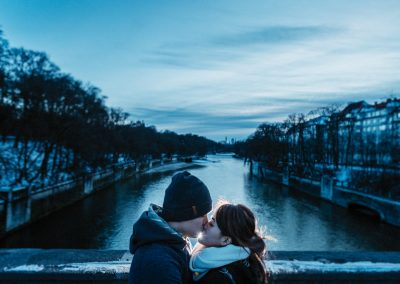 Love on the River Isar in Munich, Germany